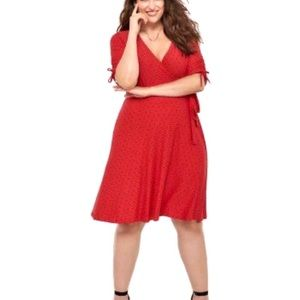 IN EVERY STORY   Fit & Flare Red Faux Wrap Dress